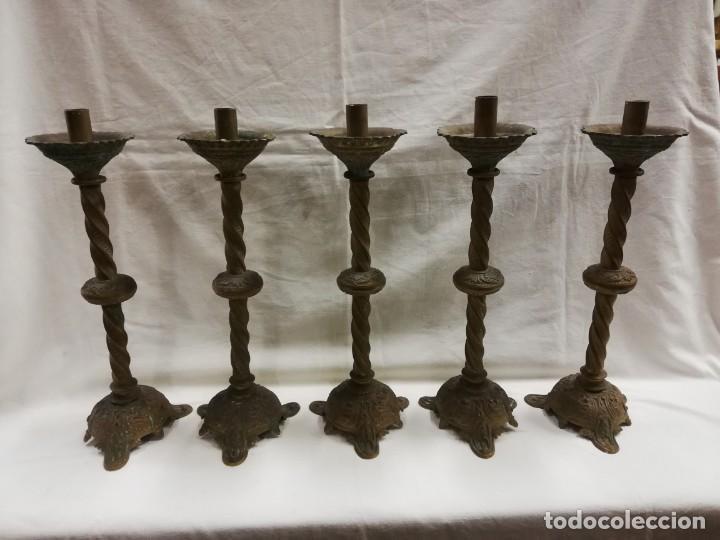 CANDELABROS DE BRONCE ANTIGUOS XIX (Antigüedades - Iluminación - Candelabros Antiguos)