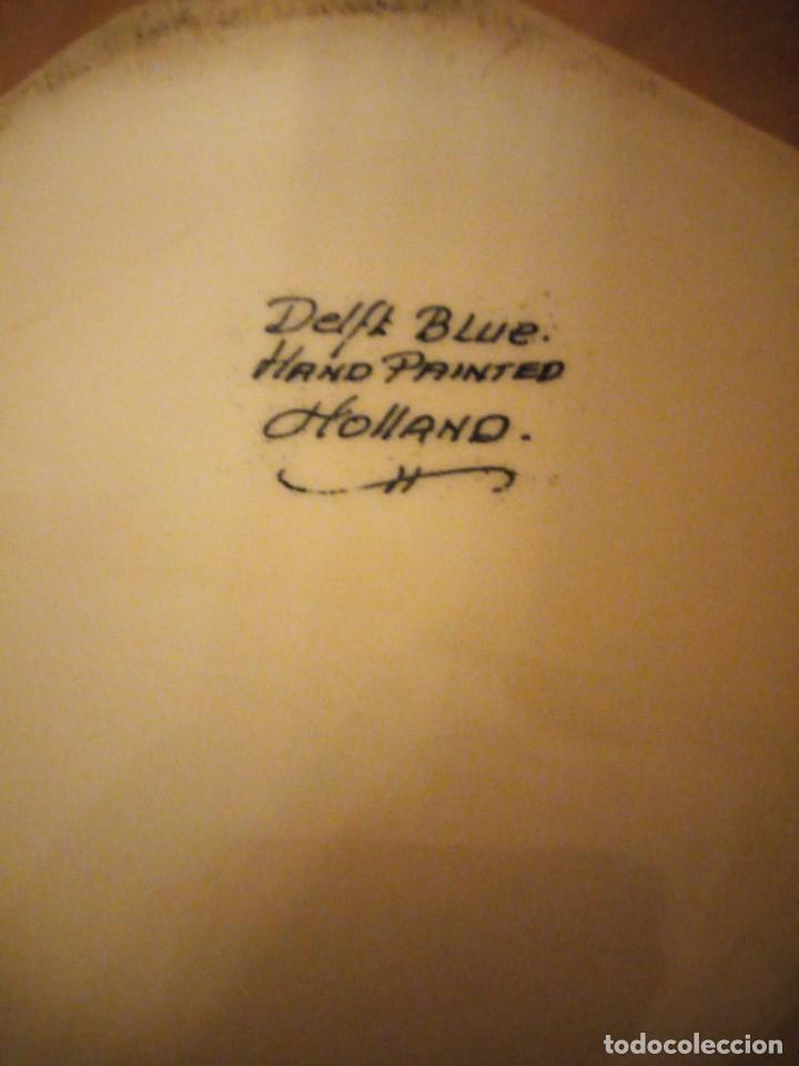 Antigüedades: Bonito macetero florero de porcelana delft blue ,pintado a mano holland - Foto 5 - 206380196