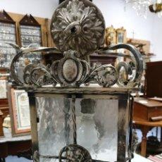 Antigüedades: FAROL METAL Y CRISTAL. Lote 206385555