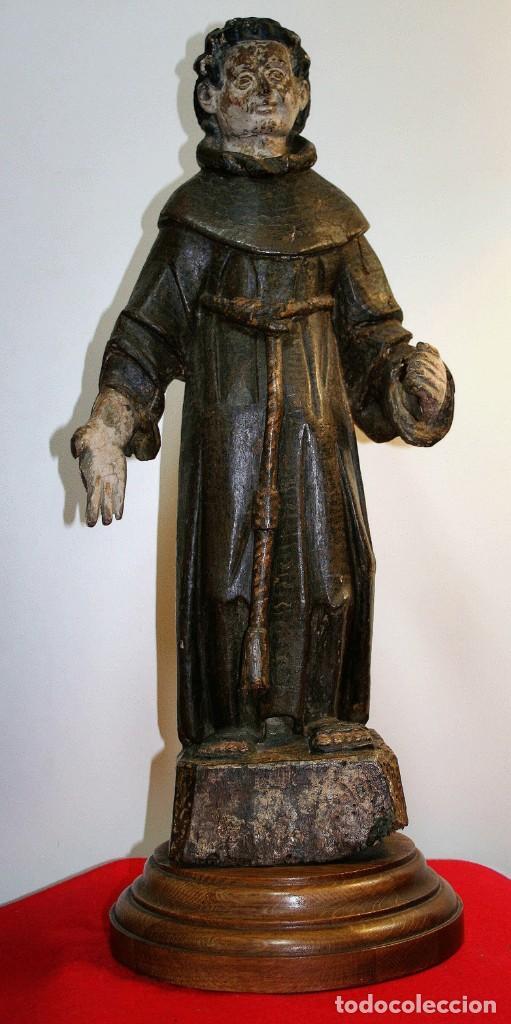 TALLA FRANCISCANO SIGLO XVI (Antigüedades - Religiosas - Artículos Religiosos para Liturgias Antiguas)