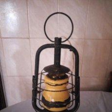 Antigüedades: ANTIGUO FAROL DE PETROLEO GIRSBERGER HELVETIA,CONVERTIDO EN LAMPARA,CRISTAL AMARILLO. Lote 206412680