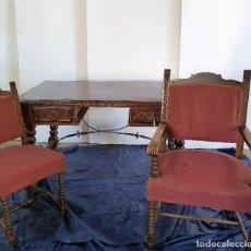 Antigüedades: CONJUNTO DE MESA DESPACHO Y SILLERÍA. Lote 206412826