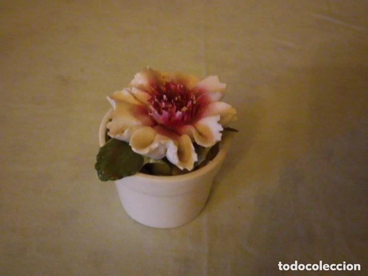 Antigüedades: Bonito macetero con una flor de porcelana,radnor staffordshire england. - Foto 2 - 206426532