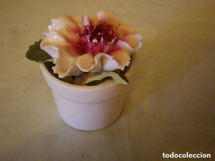 Antigüedades: Bonito macetero con una flor de porcelana,radnor staffordshire england. - Foto 3 - 206426532