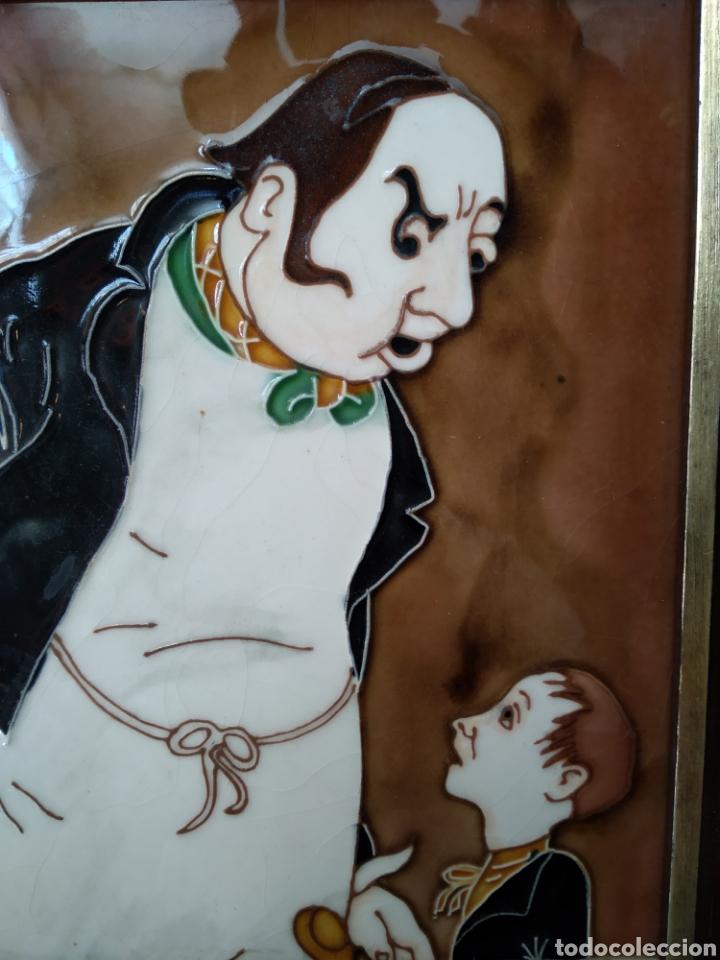 """Antigüedades: Azulejos enmarcados """"Oliver twist"""" - Foto 2 - 206429431"""