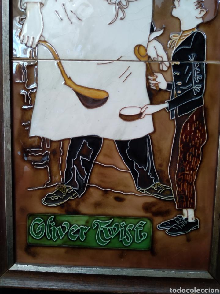 """Antigüedades: Azulejos enmarcados """"Oliver twist"""" - Foto 3 - 206429431"""