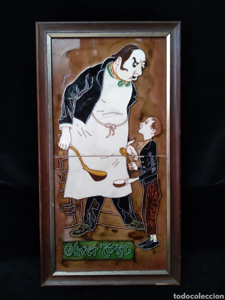"""AZULEJOS ENMARCADOS """"OLIVER TWIST"""" (Antigüedades - Porcelanas y Cerámicas - Inglesa, Bristol y Otros)"""