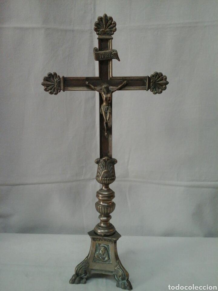 Antigüedades: Crucifijo de altar de bronce siglo XIX - Foto 2 - 206433147