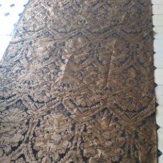 Antigüedades: 324 X 157 CM BROCADO NEGRO ORO VIEJO DAMASCO IDEAL VIRGEN DIFUNTOS COLGADURA CAPILLA SEMANA SANTA. Lote 220292152