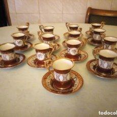 Antigüedades: JUEGO DE CAFE PORCELANA KAHLA MADE IN GDR.DECORADO CON ORO Y FLORES SOBRE FONDO GRANATE,28 PIEZAS.. Lote 206440595