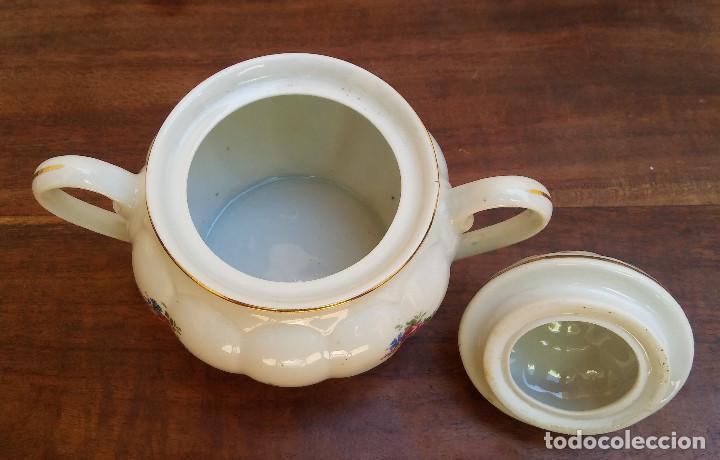 Antigüedades: ANTIGUO JUEGO DE CAFÉ PORCELANA SANTA CLARA SELLO EN PLATA, PERFECTO ESTADO, DISEÑO FLORAL - Foto 6 - 206445493