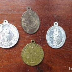 Antigüedades: CUATRO MEDALLAS RELIGIOSAS: SAGR. COR. JESÚS (2), S.VICENTE PAUL, TRAMITE MUERTE. Lote 206447628