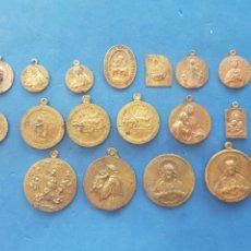 Antigüedades: LOTE 19 MEDALLAS SURTIDAS DE COBRE Y BRONCE. Lote 206452383