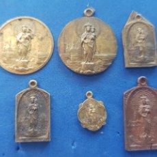 Antigüedades: LOTE 6 MEDALLAS VIRGEN DEL PILAR, COBRE Y BRONCE. Lote 206453335