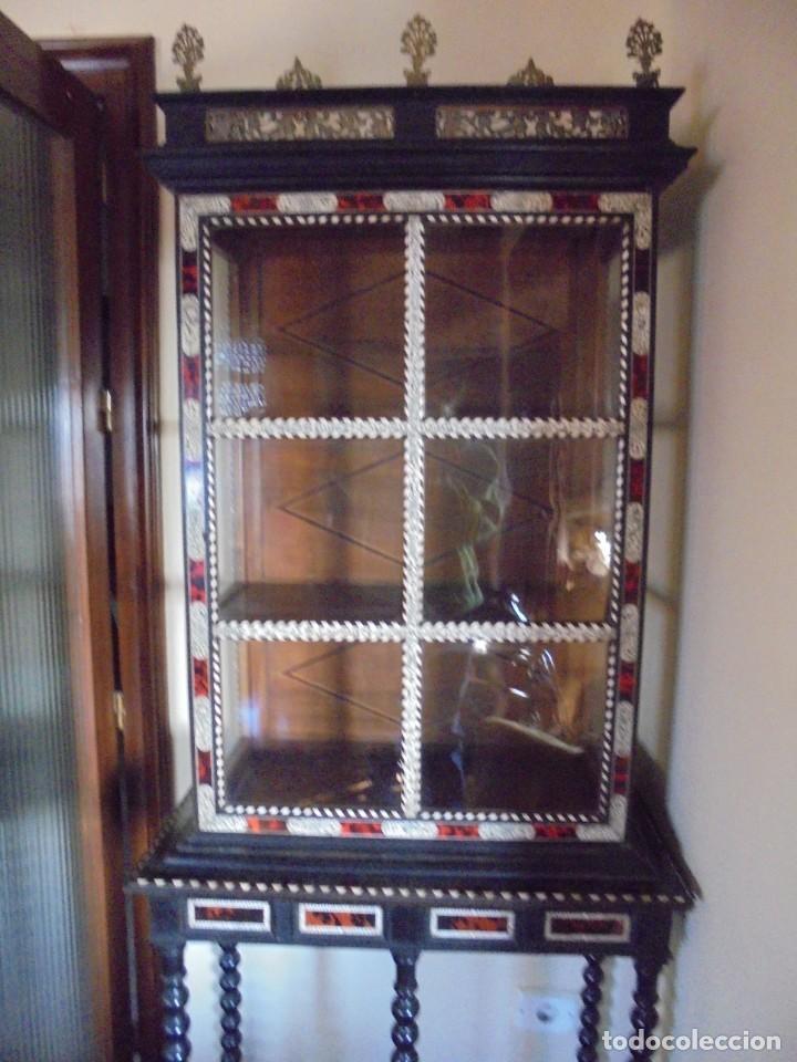 Antigüedades: Bargueño/vitrina hispano filipino - Foto 5 - 206453797