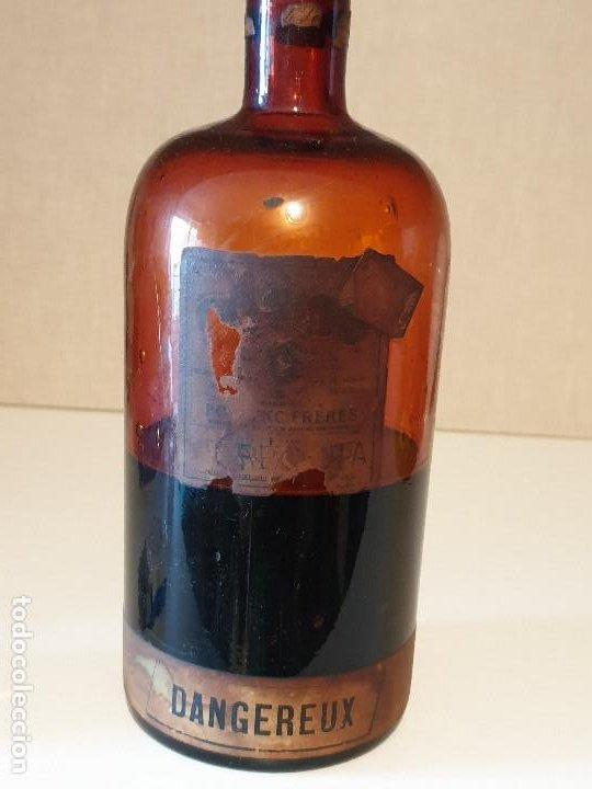 MUY RARO FRASCO ANTIGUO DE FARMACIA POULENC FRERES DANGEREUX (Antigüedades - Cristal y Vidrio - Farmacia )
