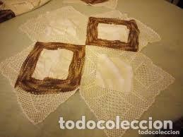 Antigüedades: Antiguo mantel de algodón y ganchillo con 2 tapetes a juego. - Foto 3 - 206458537