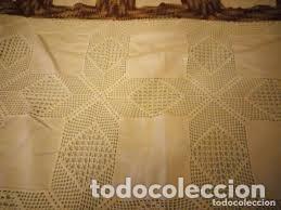 Antigüedades: Antiguo mantel de algodón y ganchillo con 2 tapetes a juego. - Foto 4 - 206458537