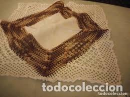 Antigüedades: Antiguo mantel de algodón y ganchillo con 2 tapetes a juego. - Foto 5 - 206458537