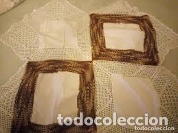 Antigüedades: Antiguo mantel de algodón y ganchillo con 2 tapetes a juego. - Foto 6 - 206458537