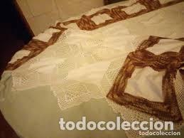 Antigüedades: Antiguo mantel de algodón y ganchillo con 2 tapetes a juego. - Foto 7 - 206458537
