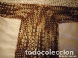 Antigüedades: Antiguo mantel de algodón y ganchillo con 2 tapetes a juego. - Foto 11 - 206458537