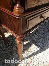 Antigüedades: mueble bar años 40/50 cerezo Silvestre ,con estante de cristal ,luz y 2 cajones para cubiertos - Foto 4 - 206473910