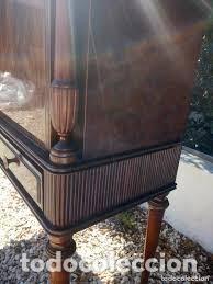 Antigüedades: mueble bar años 40/50 cerezo Silvestre ,con estante de cristal ,luz y 2 cajones para cubiertos - Foto 5 - 206473910