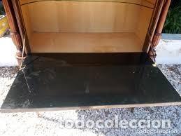 Antigüedades: mueble bar años 40/50 cerezo Silvestre ,con estante de cristal ,luz y 2 cajones para cubiertos - Foto 10 - 206473910