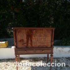 Antigüedades: mueble bar años 40/50 cerezo Silvestre ,con estante de cristal ,luz y 2 cajones para cubiertos - Foto 11 - 206473910