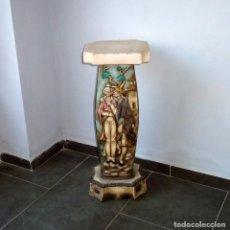 Antigüedades: PRECIOSA PEANA DE CERAMICA CON MOTIVOS ASIATICOS CON SELLO FRANJU.80 CM.AÑOS 60.. Lote 206500103