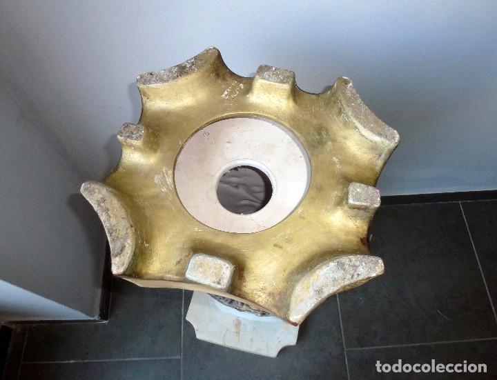 Antigüedades: Preciosa Peana De Ceramica Con Motivos Asiaticos Con Sello Franju.80 Cm.Años 60. - Foto 11 - 206500103