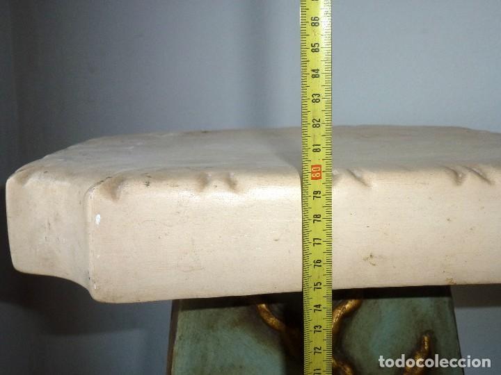 Antigüedades: Preciosa Peana De Ceramica Con Motivos Asiaticos Con Sello Franju.80 Cm.Años 60. - Foto 14 - 206500103