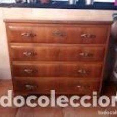 Antigüedades: ANTIGUA CÓMODA DE ROBLE MACIZA,LLAVE ORIGINAL Y TIRADORES DE BRONCE. Lote 206506218