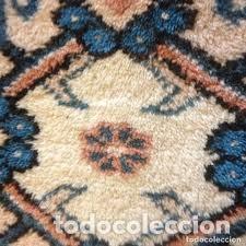Antigüedades: pequeña alfombra persa tonos blanco ,azules, negros y rojizos - Foto 2 - 206516256