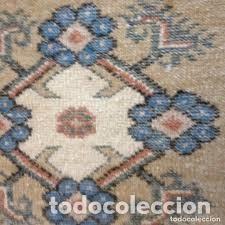 Antigüedades: pequeña alfombra persa tonos blanco ,azules, negros y rojizos - Foto 3 - 206516256
