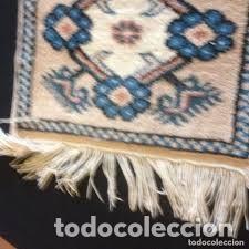 Antigüedades: pequeña alfombra persa tonos blanco ,azules, negros y rojizos - Foto 4 - 206516256