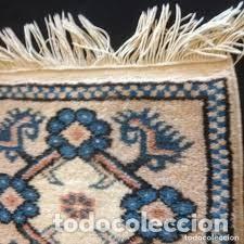 Antigüedades: pequeña alfombra persa tonos blanco ,azules, negros y rojizos - Foto 5 - 206516256