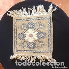 Antigüedades: pequeña alfombra persa tonos blanco ,azules, negros y rojizos - Foto 6 - 206516256