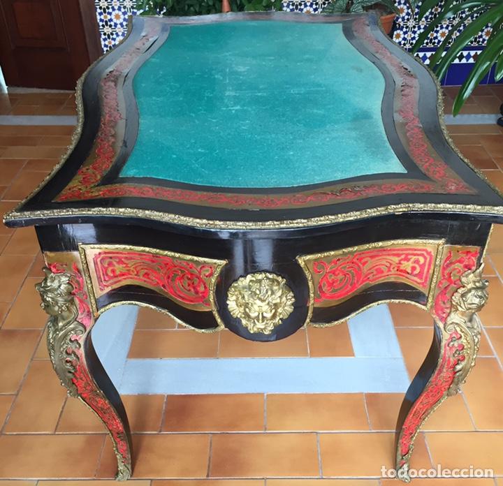Antigüedades: ESPECTACULAR MESA DE DESPACHO FRANCESA ESTILO BOULLÉ SIGLO XIX - Foto 3 - 206543216