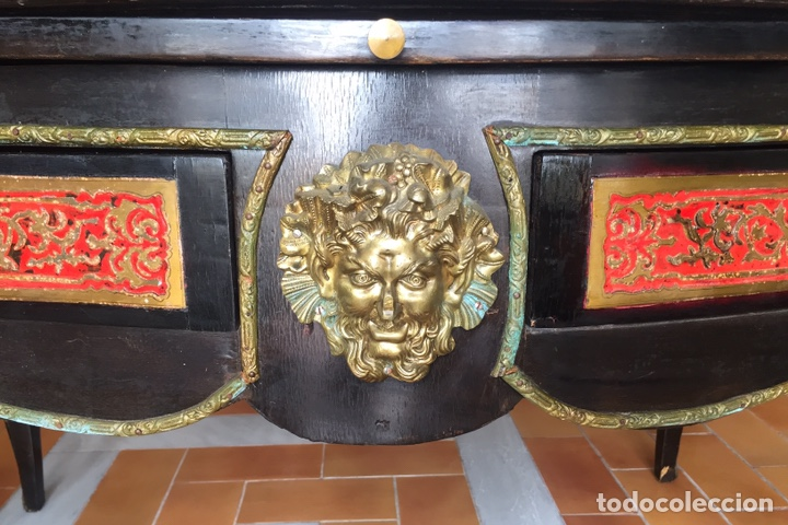 Antigüedades: ESPECTACULAR MESA DE DESPACHO FRANCESA ESTILO BOULLÉ SIGLO XIX - Foto 12 - 206543216