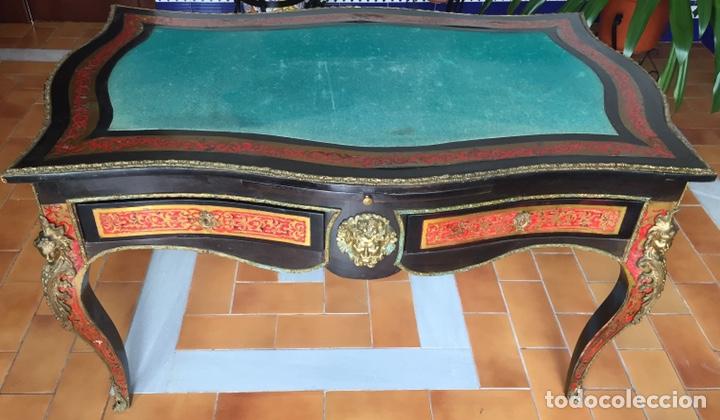 ESPECTACULAR MESA DE DESPACHO FRANCESA ESTILO BOULLÉ SIGLO XIX (Antigüedades - Muebles Antiguos - Mesas de Despacho Antiguos)