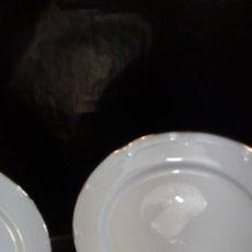 Antigüedades: SEIS PLATOS LLANOS EN PORCELANA BLANCA SANTA CLARA DE RELIEVES CON RIBETEADOS AL ORO FINO. MARCAS. Lote 206550013