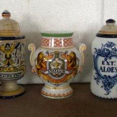 Antigüedades: LOTE DE 5 ALBARELOS SIMIL DE LOS ANTIGUOS EN PORCELANA PARA COLECCIÓN. Lote 206558577