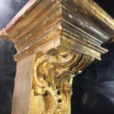 Antigüedades: ANTIGUA MENSULA PEANA CANES O APLIQUE DE RETABLO CASTELLANO S.XVIII MADERA POLICROMADA. Lote 206558715