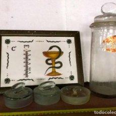 Antigüedades: LOTE VARIADO DE TAPONES DE CRISTAL, AZULEJO Y TARRO DE FARMACIA. Lote 206559908