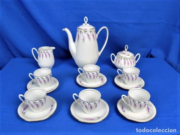 ANTIGUO JUEGO DE CAFE CERAMICAS SANTA CLARA VIGO (Antigüedades - Porcelanas y Cerámicas - Santa Clara)