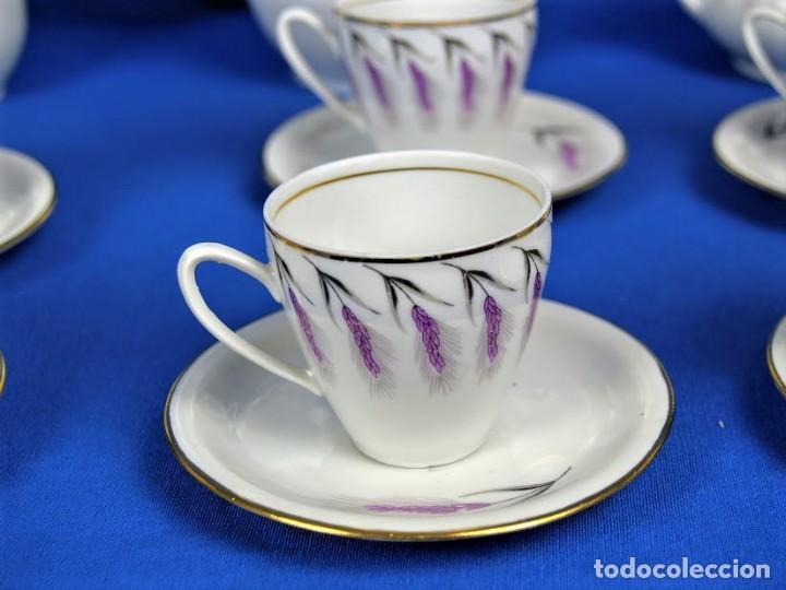 Antigüedades: Antiguo juego de cafe ceramicas Santa Clara Vigo - Foto 6 - 206580360