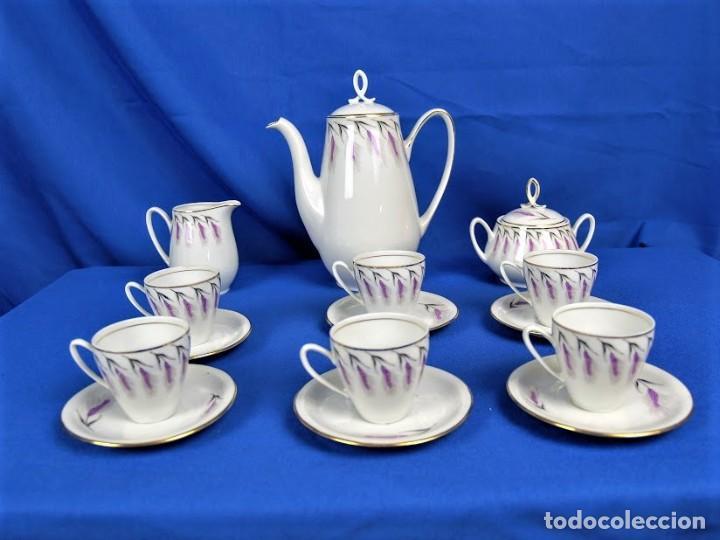 Antigüedades: Antiguo juego de cafe ceramicas Santa Clara Vigo - Foto 7 - 206580360