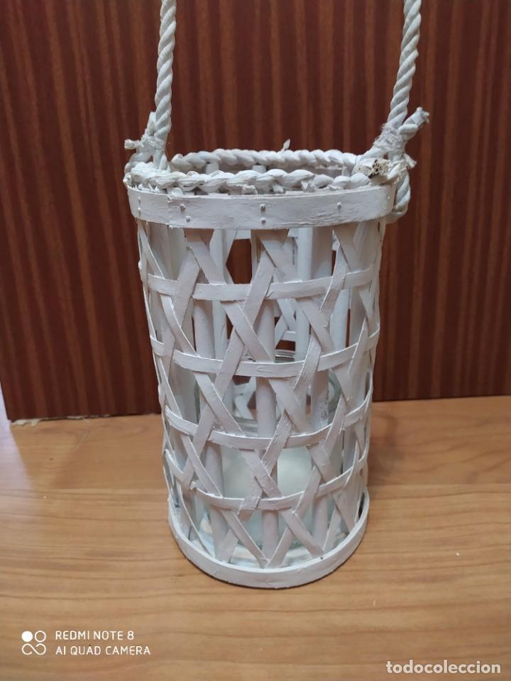 Antigüedades: Lote 3 portavelas rústico de mimbre colgante, porta vela artesanal, artesanía para colgar - Foto 2 - 206583318